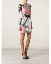 Carven Belted Printed Long Sleeve Dress - Lyst