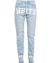 Off-white Printed Boyfriend Jeans - Lyst
