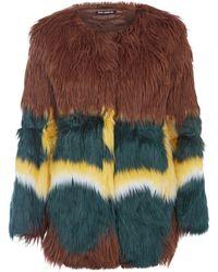 Oui, Odile! - Green Leonie Colour Shaggy Faux Fur Jacket - Lyst