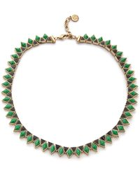 House Of Harlow Wren Feather Collar Necklace Malachiteblack - Lyst
