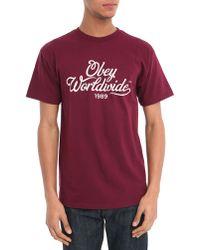 Obey Burgundy Homebrew T-Shirt purple - Lyst