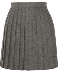 Saint Laurent Pleated Wool Mini Skirt - Lyst