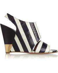 Chloé Striped Ayers Wedge Sandals - Lyst