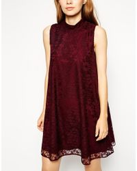 Asos Lace Swing Dress with High Neck - Lyst