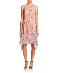 BCBGMAXAZRIA Printed Silk Chiffon Ruffle Dress pink - Lyst