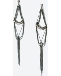 Zara Crystal And Chain Long Earrings - Lyst
