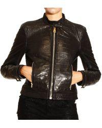 Versus  Jacket Biker Print Coccodrille - Lyst