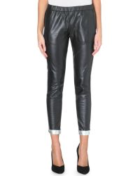Maje Plaisir Leather Reversible Trousers - Lyst