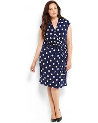 Eliza J Plus Size Polka Dot Jersey Dress - Lyst
