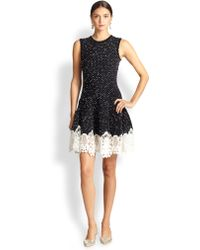 Oscar de la Renta Dot-Print Lace-Hem Dress - Lyst