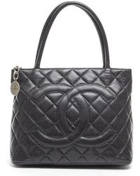 Chanel Preowned Black Caviar Medallion Tote Bag - Lyst