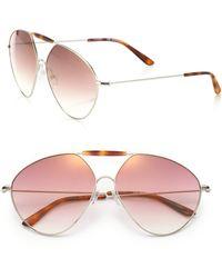 Valentino Mask 62Mm Aviator Sunglasses - Lyst