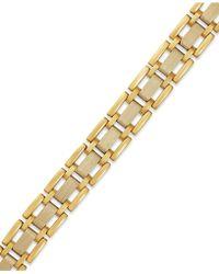Macy's Us Men'S Two-Tone Link Bracelet In 10K Gold - Lyst