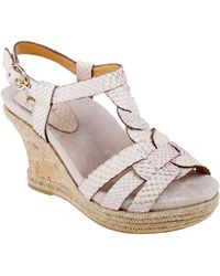 Earthies® Corsica Embossed Leather Strappy Wedge Sandals - Lyst