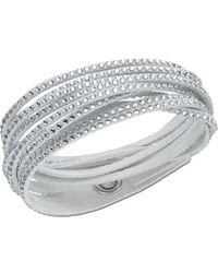 Swarovski Alcantara And Crystal Wrap Bracelet - Lyst