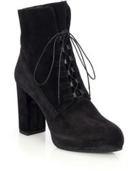 Diane von Furstenberg   Pacey Faux Fur-lined Lace-up Suede Booties   Lyst