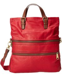 Fossil Red Explorer Tote - Lyst