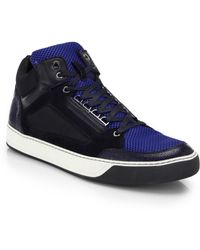 Lanvin Mesh & Leather Mid-Top Sneakers - Lyst