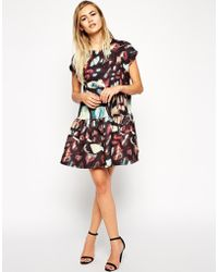 Asos Bonded T-Shirt Shift Dress With Peplum Hem In Abstract Print - Lyst