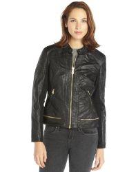 Sam Edelman Black Faux Leather Textured Zipper Waist Detail Jacket - Lyst