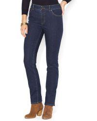 Ralph Lauren Lauren Slim Straight Leg Jeans in Rinse - Lyst