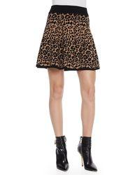 Milly Cheetahjacquard Flared Skirt Blackcamel Petite - Lyst
