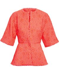 Giambattista Valli Flared Cloque Jacket - Lyst