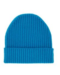 Orwell + Austen Cashmere - Cashmere Ribbed Beanie Turquoise - Lyst