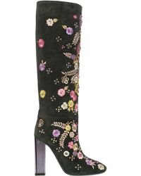 Emilio Pucci - 110Mm Embroidered Suede Boots - Lyst