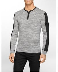 Calvin Klein White Label Ck One Heathered Henley Sweater gray - Lyst