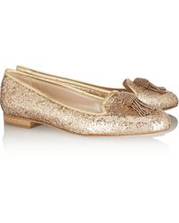 Oscar de la Renta Ciciclo Embellished Glittered Leather Loafers - Lyst