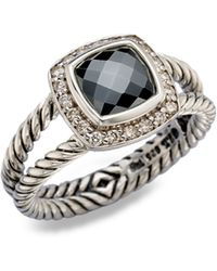 David Yurman Diamond Hematite Sterling Silver Ring - Lyst