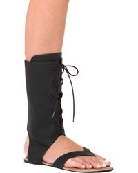 Akira Black Label - Mid-calf Lace Up Black Gladiator Thong Sandals - Lyst
