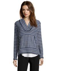 Rachel Zoe Blue And White Striped Tweed 'Olive' Hooded Sweatshirt - Lyst