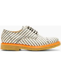 Carven Tan and White Textile Derby Shoes - Lyst