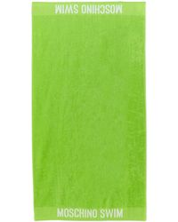 Moschino Lime Green Logo Beach Towel - Lyst