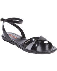 Prada Black Leather Anklestrap Sandals - Lyst