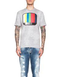 DSquared² Men'S Dan Fit Tv Lines Cotton-Blend Tee - Lyst