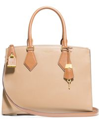 Michael Kors Casey Large Two-Tone Leather Satchel - Lyst