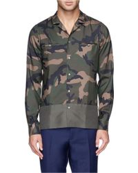 Valentino Contrast Hem Camouflage Print Silk Shirt - Lyst