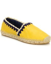 Tory Burch Myra Woven-Trimmed Leather Espadrilles yellow - Lyst