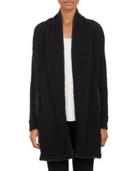 Barneys New York Fauxleatherstitched Sweater Coat - Lyst
