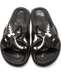 Christopher Kane | Black Leather Art Nouveau Sandals | Lyst