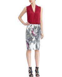 Rachel Roy Marble Print Pencil Skirt - Lyst