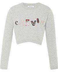 Carven Cropped Cottonjersey Logo Sweatshirt - Lyst