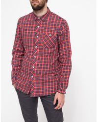 Topman Ls Red Tartan Twill Shirt - Lyst