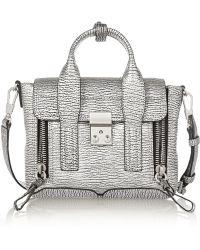 3.1 Phillip Lim The Pashli Mini Metallic Textured-leather Trapeze Bag - Lyst
