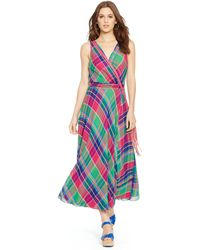 Polo Ralph Lauren Plaid Wrap Maxidress - Lyst