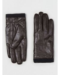 TOPMAN - Dark Brown Leather Touch Screen Gloves - Lyst