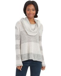 Free People Striped Cowl Neck Sweater - Lyst